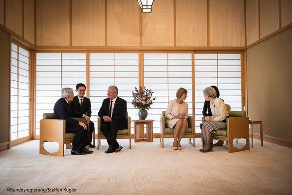 皇居でのドイツ大統領ガウク氏と天皇皇后両陛下のご会見