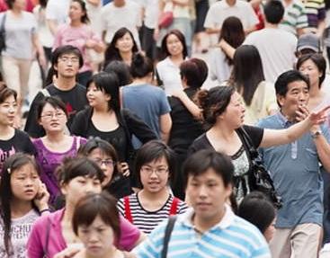 中国の街の雑踏