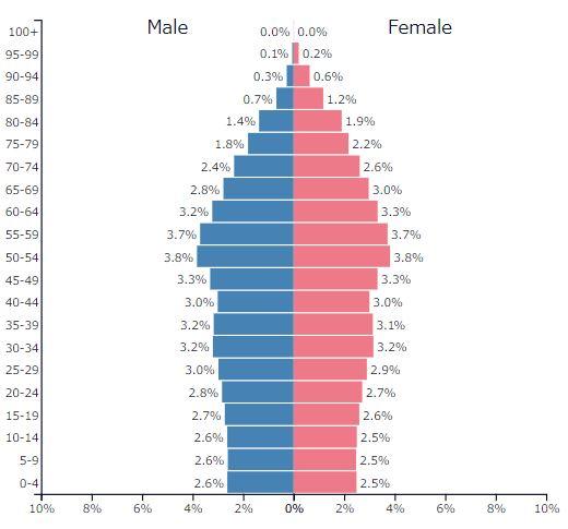 2019年西ヨーロッパ全体の人口ピラミッドグラフ