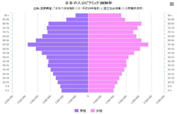 悲惨な2030年の日本の人口ピラミッド