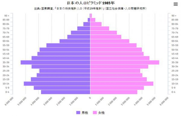 バブル期直前の1985年の日本の人口ピラミッド