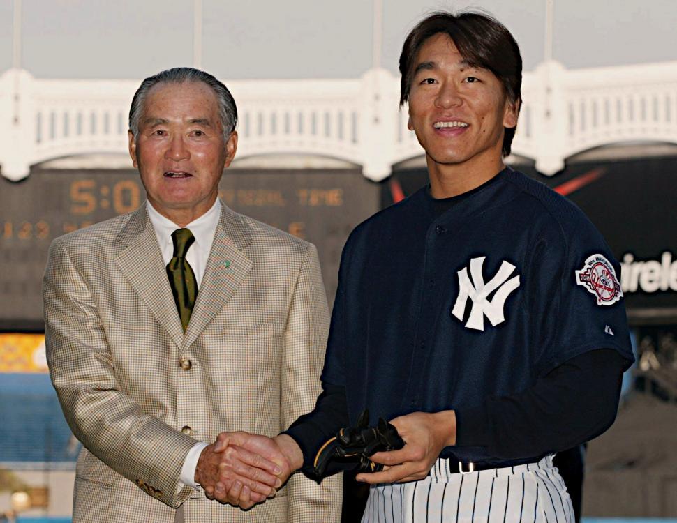 長嶋と松井が握手
