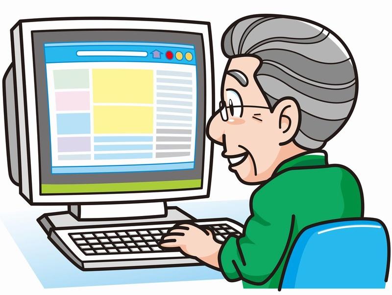 パソコンに向かう高齢者