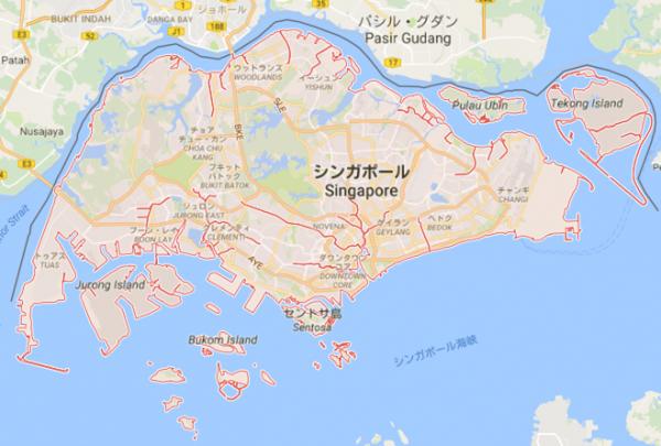 シンガポールの国土地図