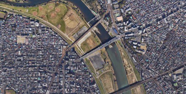 多摩川田園調布水位観測所付近の衛星写真
