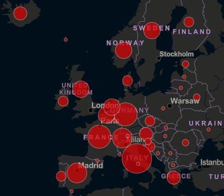 ヨーロッパに広がる新型コロナウイルス感染